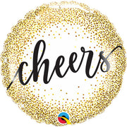 18″ CHEERS GOLD GLITTER DOTS