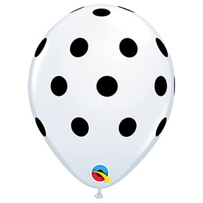 11″ BIG POLKA DOTS - WHITE WITH BLACK INK