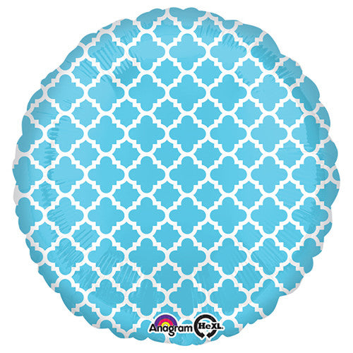 18″ CIRCLE - QUATREFOIL BLUE AND WHITE