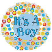 17″ ITS A BOY COLORFUL DOTS