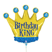 14″ BIRTHDAY KING MINI SHAPE (AIR-FILL ONLY)