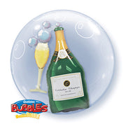"24"" DOUBLE BUBBLE - BUBBLY WINE BOTTLE & GLASS"