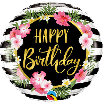 18″ BIRTHDAY HIBISCUS STRIPES