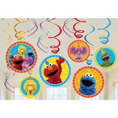 12 PC SESAME STREET SWIRL DECORATIONS