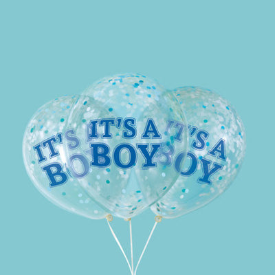 12″ IT'S A BOY PREFILLED WITH BLUE CONFETTI (6 PK)