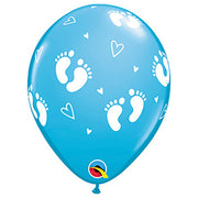 "11"" BABY FOOTPRINTS & HEARTS - ROBIN'S EGG BLUE"