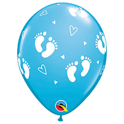 11″ BABY FOOTPRINTS & HEARTS - ROBIN'S EGG BLUE