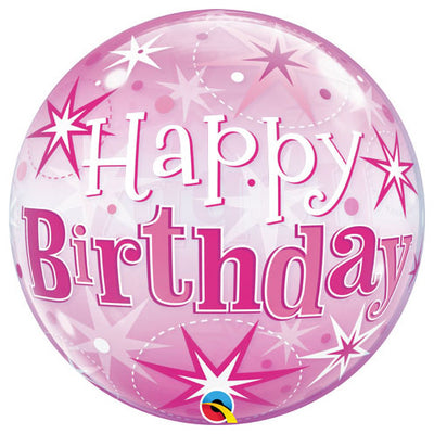 22″ BUBBLE - BIRTHDAY PINK STARBURST SPARKLE