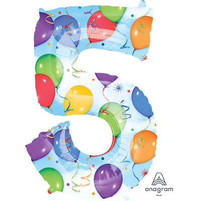 34″ NUMBER 5 - ANAGRAM - BALLOONS & STREAMERS