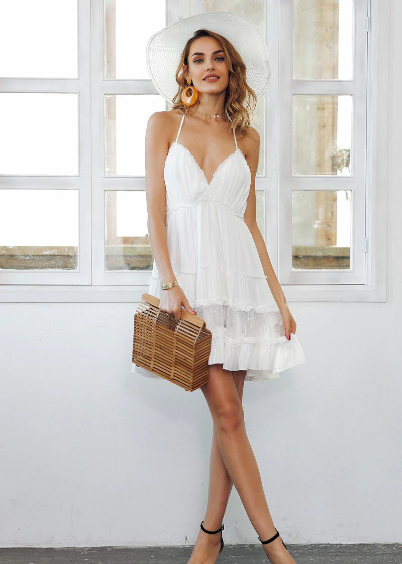 Maeve Strap Backless Mini Lace Dress
