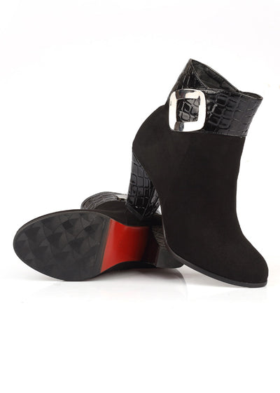 Chunky Block Heel Metal Buckle Ankle Boots
