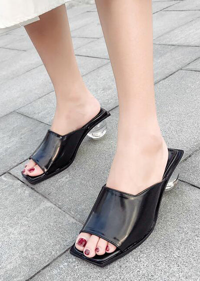 Casual Square Toe Crystal Heel Slippers
