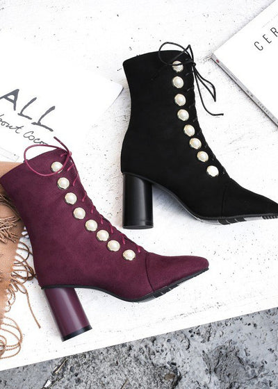 Lace Up Pearl Rivet Pumps Mid Calf Boots