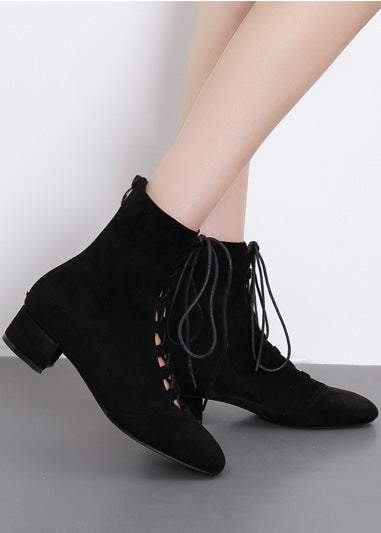 Kitten Heels Square Toe Lace Up Ankle Boots