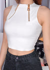 White Strapless Zipper Crop Top