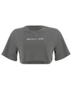 Gray Letter Embroidery Cotton T-Shirt