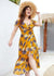Kyra Leaf Print Maxi Party Dress