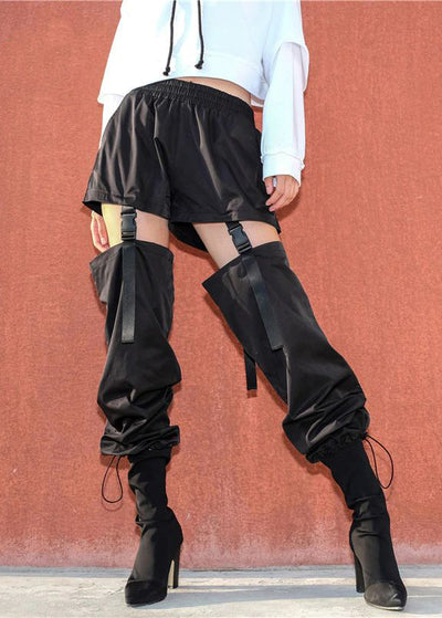 Black Gothic Cargo Buckle Hip Hop Pant