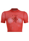 Red Devil Embroidery Mesh T-shirt Top