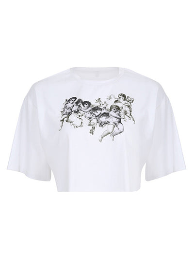 Angel Print Crew-neck Crop Top T-Shirt