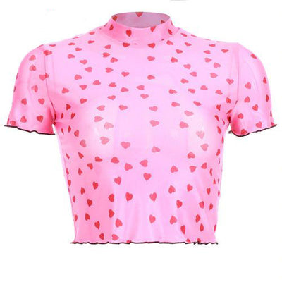 Pink Heart Print Cropped Top