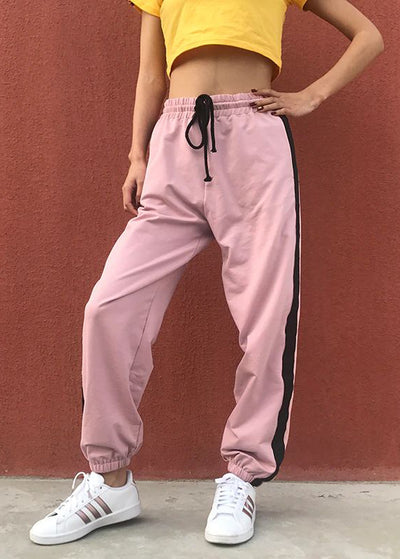Pink Striped Cotton High Waist Sweatpant