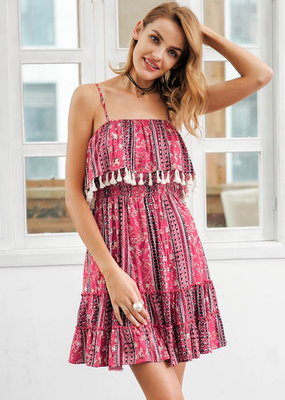 Raegan Ruffle Tassel Strap Short Dress