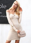 Laurel Bodycon One Shoulder Sweater Dress