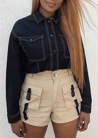 Buckle High Waist Shorts