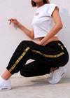 Black High Waist Striped Sweatpant