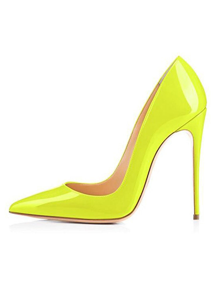 Pumps Stiletto Neon Yellow High Heels Shoes