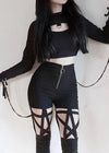 Black Push Up Gothic Hollow Pant