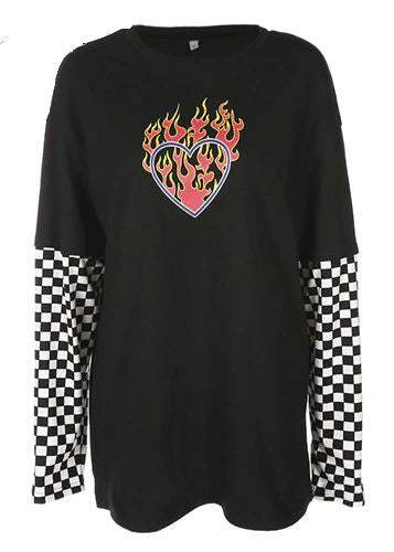 Heart Print Cotton Long Sleeve T-Shirt Top