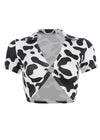 V-Neck Short Sleeve Cow Print Top