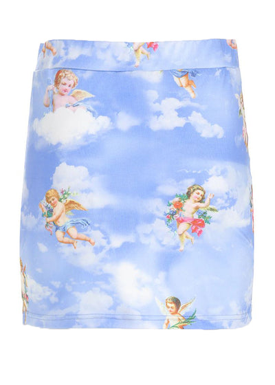 Blue Side Split High Waist Angel Print Skirt