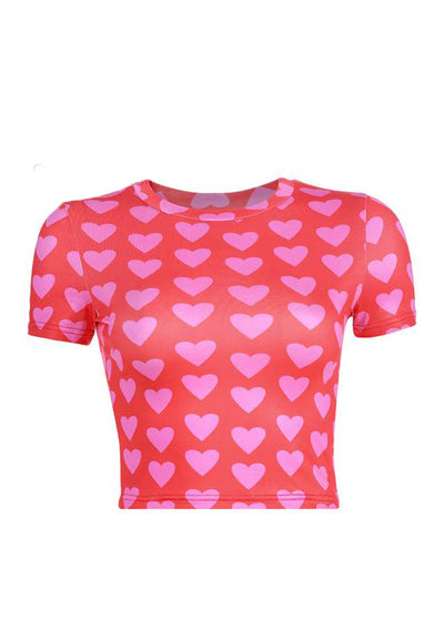Red Pink Heart Print Slim T-Shirt