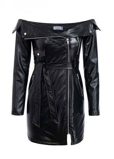 Punk Leather Off Shoulder Bodycon Short Dress