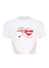 Heart Print Embroidery Crop Top T-Shirt