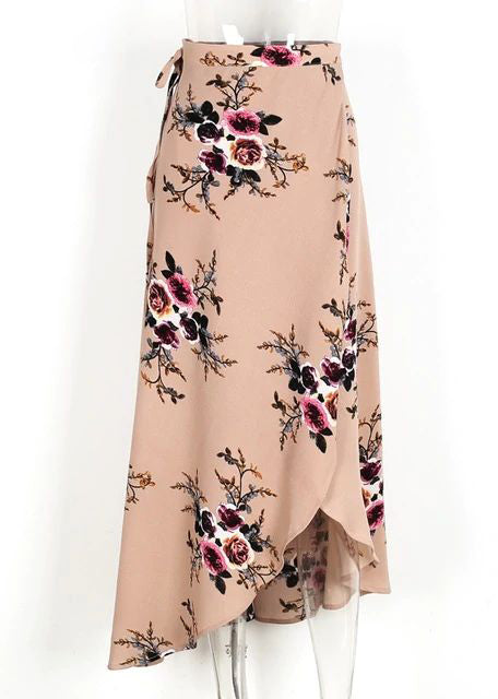 Amia Vintage Floral Print Long Skirt