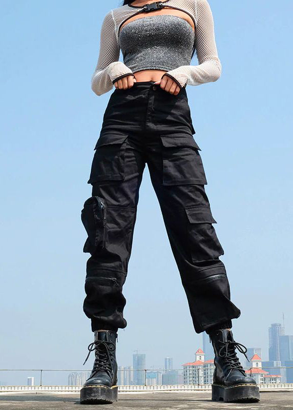 Black Patchwork Hippie Cargo Pant