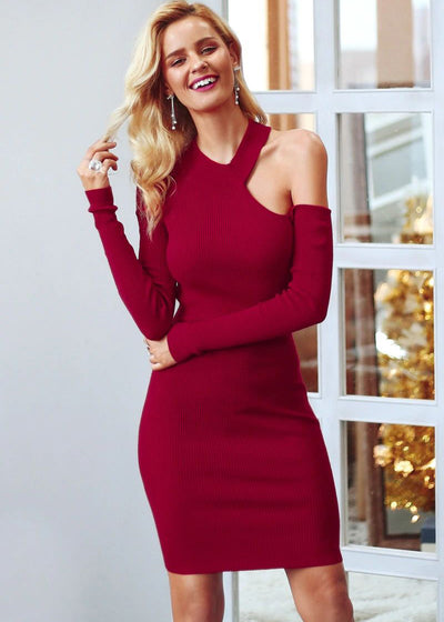 Beatrice Bodycon Cold Shoulder Sweater Dress
