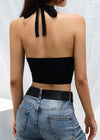 Black Backless  Hollow Out Tank Top