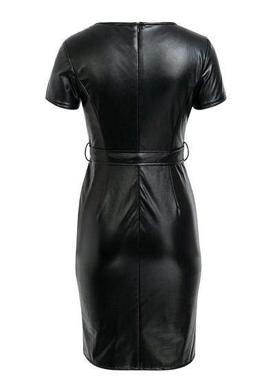 V-neck PU leather Bodycon Short Dress