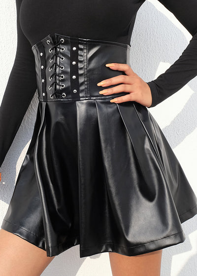 Black PU Leather Zipper Skirts