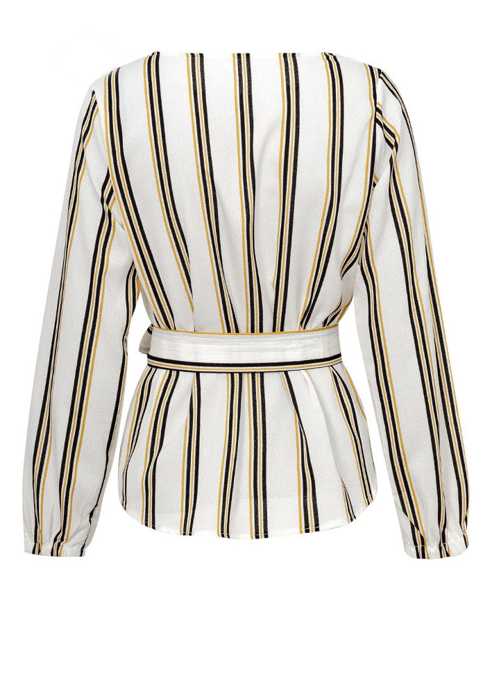 Lina Stripe O-Neck Blouse Top