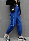 Blue High Waist Pockets Cargo Sweatpant