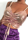 Glitter Off Shoulder Sequined Strap CamisTop