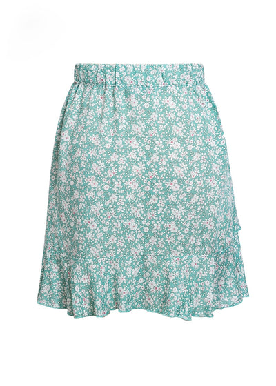Sia Floral Print Lace Up Skirt