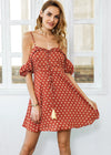 Kassidy Dot Strap Cold Shoulder Dress