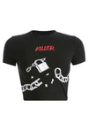 Black Broken Chain Print T-Shirt
